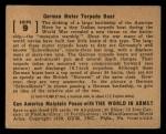 1939 Gum Inc. World In Arms #9 S  German Motor Torpedo Boat Back Thumbnail