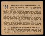 1938 Gum Inc. Horrors of War #189   Rebel Plane Bombs Loyalist Hospital Train Back Thumbnail