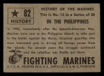 1953 Topps Fighting Marines #82   In The Philippines Back Thumbnail