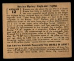 1939 Gum Inc. World In Arms #12 A  Russian Mystery Single-seat Fighter Back Thumbnail