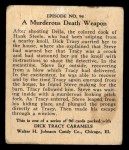 1931 Johnson Candy Dick Tracy R41 #94   Murderous Death Weapon Back Thumbnail