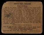 1941 Gum Inc Uncle Sam #8   Field Artillery Back Thumbnail