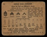 1941 Gum Inc Uncle Sam #12   How To Tell An Officer's Rank Back Thumbnail