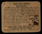 1941 Gum Inc Uncle Sam #71   The Bombardier Back Thumbnail