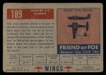 1952 Topps Wings #189   Saab-90 A-2 Scandia Back Thumbnail