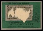 1956 Topps Davy Crockett Green Back #52   The Fighting Major  Back Thumbnail