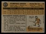 1960 Topps #317  Pumpsie Green  Back Thumbnail