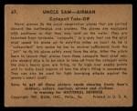 1941 Gum Inc Uncle Sam #67   Catapult Take-Off Back Thumbnail