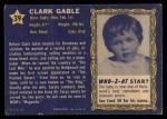 1953 Topps Who-Z-At Star #39  Clark Gable  Back Thumbnail