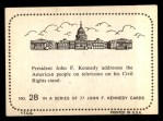 1964 Topps JFK #28   JFK Add. On His Civil Rights St& Back Thumbnail