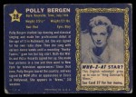 1953 Topps Who-Z-At Star #28  Polly Bergen  Back Thumbnail