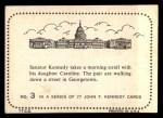 1964 Topps JFK #3   Sen. Kennedy With Daughter Caroline Back Thumbnail