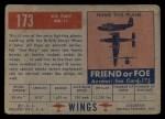 1952 Topps Wings #173   Sea Fury MK-11 Back Thumbnail