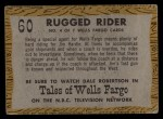 1958 Topps TV Westerns #60   Rugged Rider  Back Thumbnail