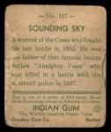 1933 Goudey Indian Gum #107  Sounding Sky   Back Thumbnail