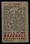 1951 Bowman #124  Gus Niarhos  Back Thumbnail