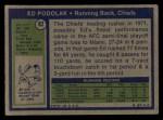 1972 Topps #82  Ed Podolak  Back Thumbnail