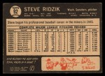 1964 Topps Venezuelan #92  Steve Ridzik  Back Thumbnail