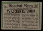 1974 Topps Traded #62 T  -  Bob Locker Traded Back Thumbnail
