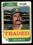 1974 Topps Traded #62 T  -  Bob Locker Traded Front Thumbnail