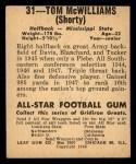 1948 Leaf #31 MAR Tom McWilliams  Back Thumbnail