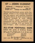 1948 Leaf #47 BRN John Clement  Back Thumbnail