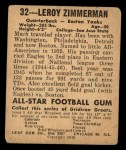 1948 Leaf #32  Leroy Zimmerman  Back Thumbnail