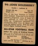 1948 Leaf #94  John Goldsberry  Back Thumbnail