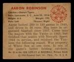 1950 Bowman #95  Aaron Robinson  Back Thumbnail