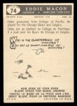 1959 Topps CFL #74  Eddie Macon  Back Thumbnail