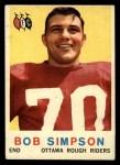 1959 Topps CFL #54  Bob Simpson  Front Thumbnail
