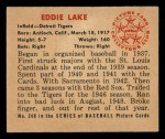 1950 Bowman #240  Eddie Lake  Back Thumbnail