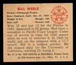 1950 Bowman #87  Bill Werle  Back Thumbnail