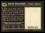 1969 Topps #156  Dave Williams  Back Thumbnail