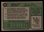 1974 Topps #89  Jackie Brown  Back Thumbnail
