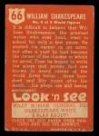 1952 Topps Look 'N See #66  William Shakespeare  Back Thumbnail