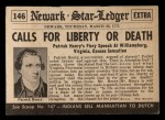 1954 Topps Scoop #146   Liberty Or Death Back Thumbnail