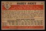 1953 Bowman #144  Warren Hacker  Back Thumbnail