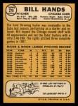 1968 Topps #279  Bill Hands  Back Thumbnail
