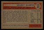 1954 Bowman #47 2B Granny Hamner  Back Thumbnail