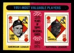 1975 Topps Mini #189   -  Yogi Berra / Roy Campanella 1951 MVPs Front Thumbnail