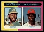 1975 Topps Mini #309   -  Lou Brock / Bill North SB Leaders   Front Thumbnail
