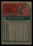 1975 Topps Mini #110  Wilbur Wood  Back Thumbnail