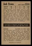 1954 Parkhurst #72  Jack Evans  Back Thumbnail