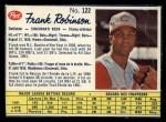 1962 Post Canadian #122  Frank Robinson  Front Thumbnail