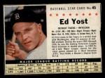 1961 Post #45  Eddie Yost   Front Thumbnail