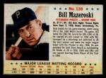1963 Post #138  Bill Mazeroski  Front Thumbnail