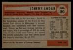 1954 Bowman #80 ERR Johnny Logan  Back Thumbnail