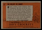1956 Topps Davy Crockett #57   -     No Relief in Sight  Back Thumbnail