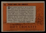 1956 Topps Davy Crockett #16   Every Man for Himself  Back Thumbnail